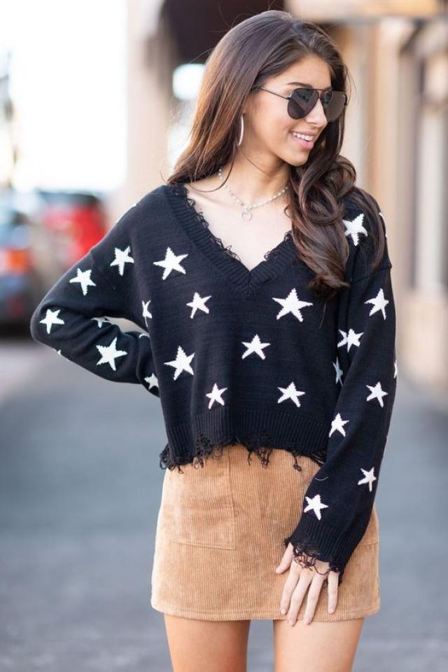 ZAFUL Star Drop Shoulder Frayed Jumper Sweater  A perfect fall fashion. Shop at Zaful! sweater