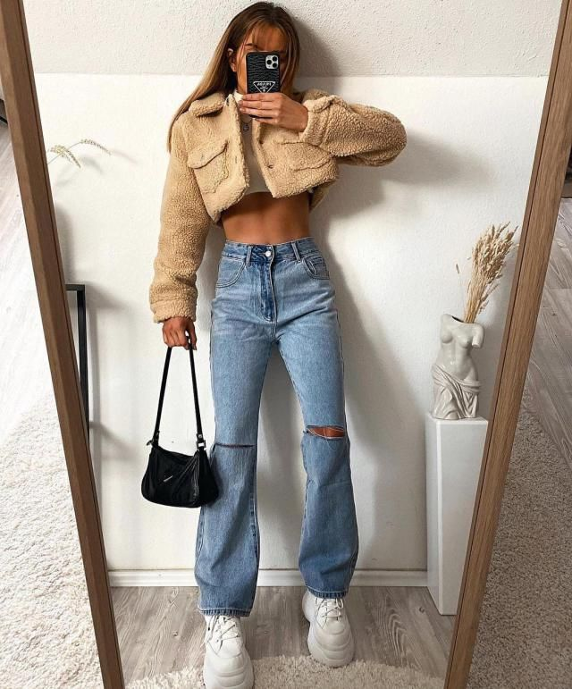 Teddy cropped jacket for a fall outfit its everything you need!!