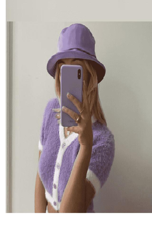 ZAFUL Fuzzy Contrast Trim Cropped Cardigan