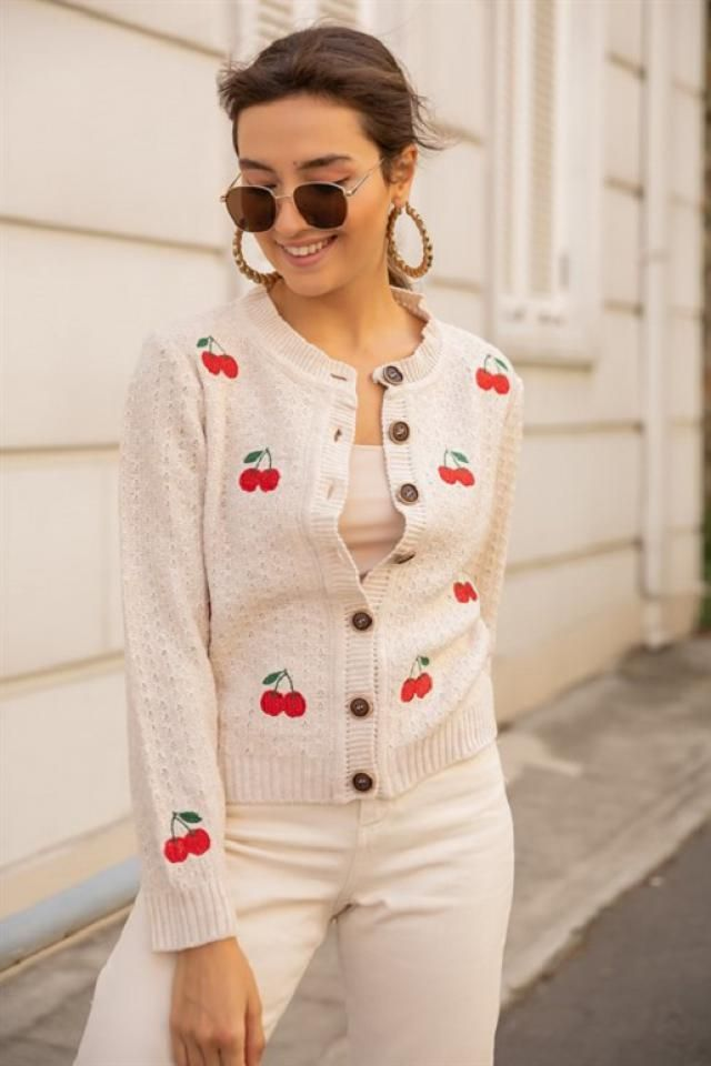 Cropped Button Up Cherry Embroidered Cardigan 