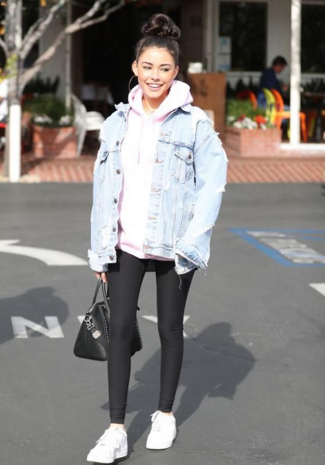 Button Up Denim Jacket And Hooded Vest   Cute denim jacket  and leggings from Zaful.