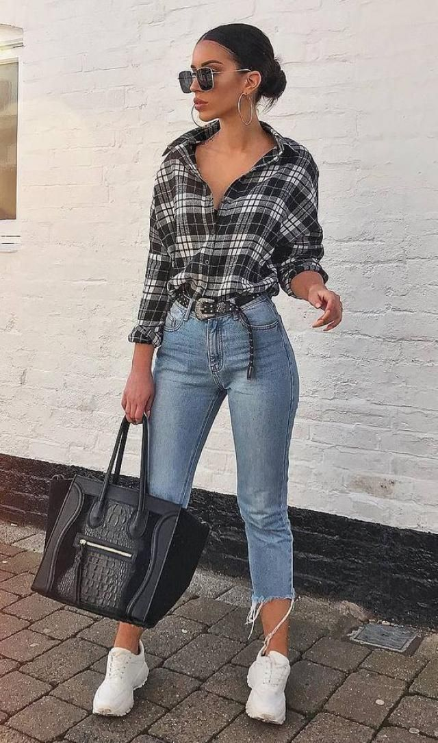 Checked Raw Hem Oversized Shirt