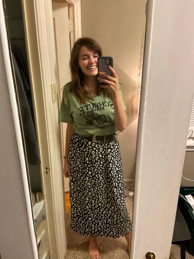 I like baggier shirts and I thought this shade of green was really cute.  Goes with anything