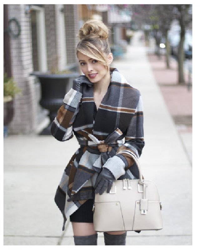 NEW in Zaful!!!  Contrast Piping Belted Plaid Wool Blend Coat  Do you notice how warm these clothes are, and at the sa…