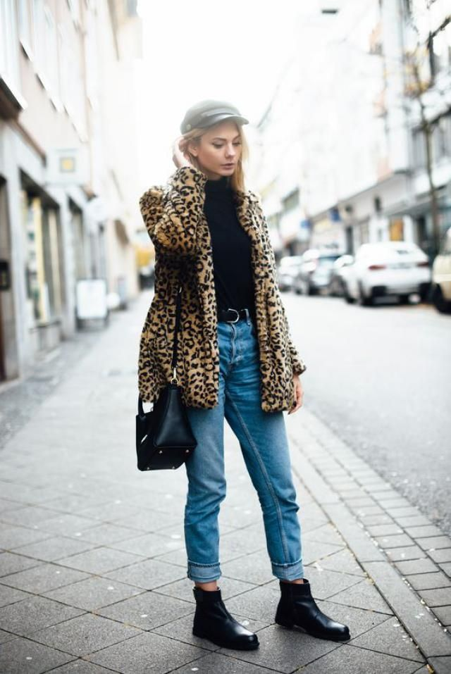 Dual Pocket Zip Up Leopard Faux Fur Coat