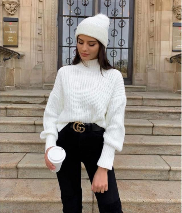 Pullover Mock Neck Plain Slim Sweater Fantastic sweater with jeans. Buy Here ! Large selection of clothes for autumn a…