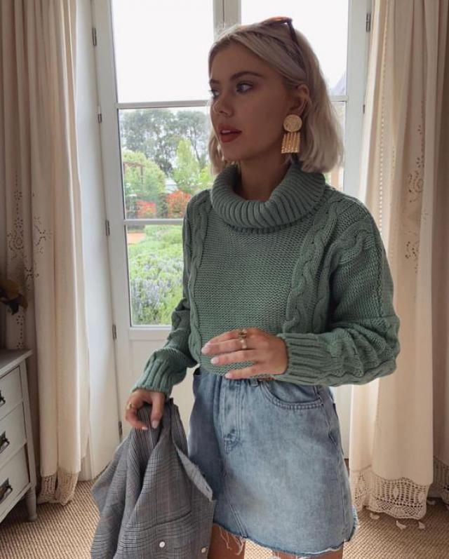 ZAFUL Turtleneck Cable Knit Sweater  Fantastic sweater with denim skirt . Buy Here ! Large selection of clothes for au…