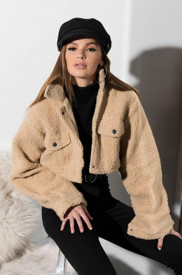 ZAFUL Snap Button Teddy Cropped Jacket