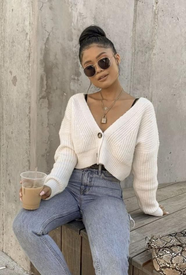 Rib-knit Trim Button Up Crop Cardigan
