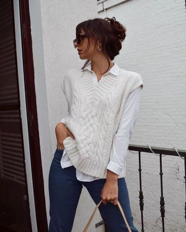 Cable Knit Plunge Cardigan Vest