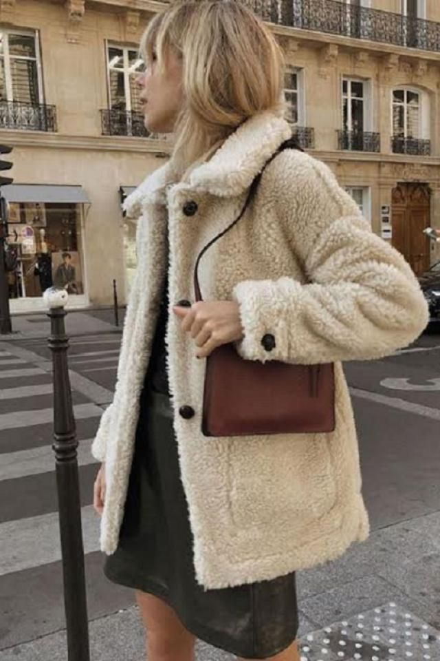 ZAFUL Faux Shearling Snap Button Zip Teddy Coat