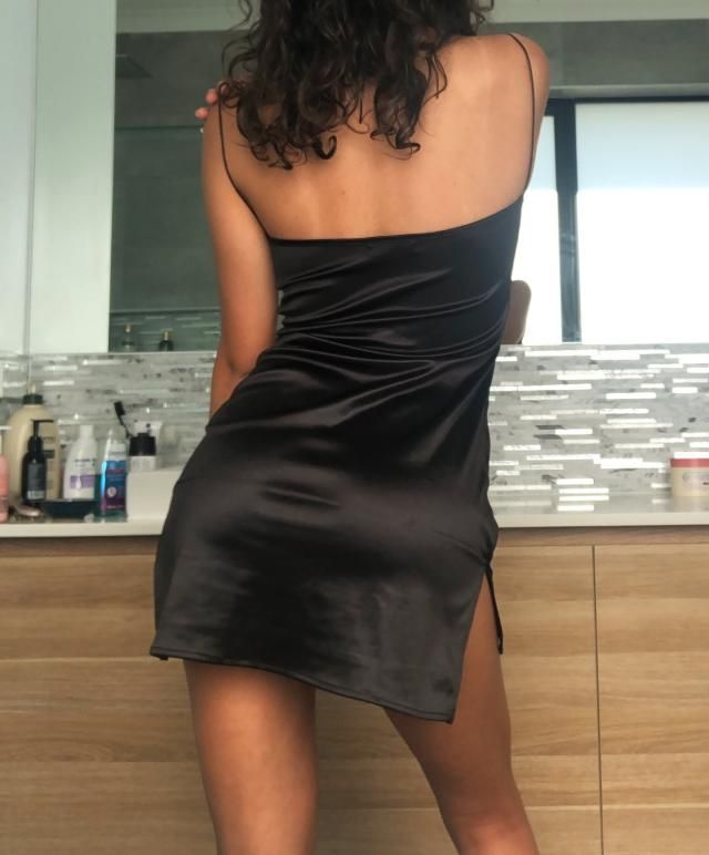 Comfy as, silky but stretchy at the same time. Super flattering but be warned it is SHORT short. Also not the neckline…