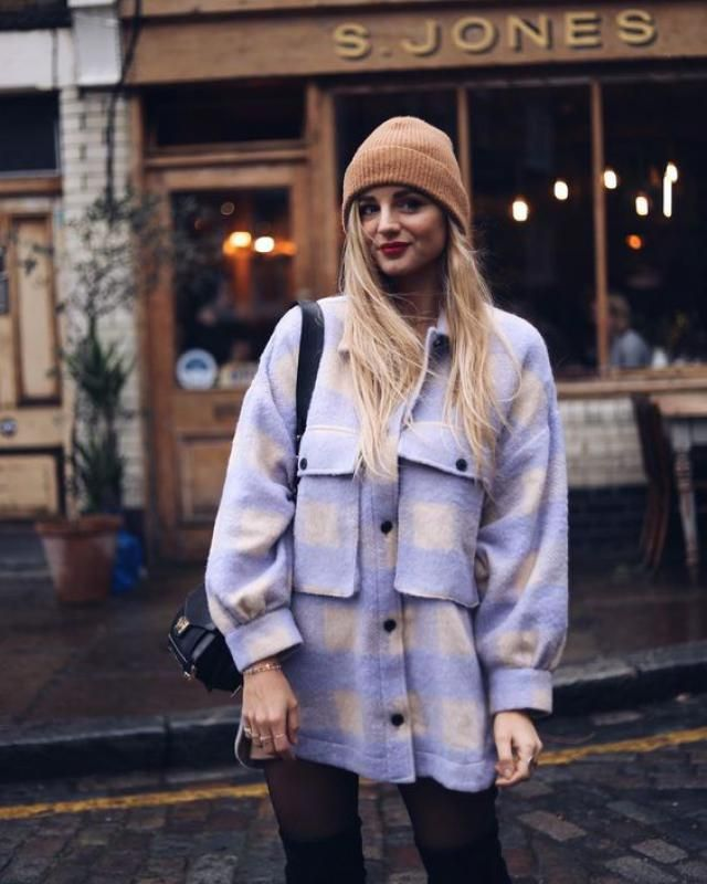 ZAFUL Checkered Drop Shoulder Pocket Coat