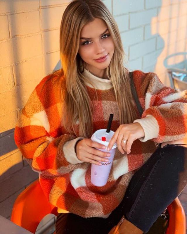 Turtleneck Raglan Sleeve Plaid Sweater