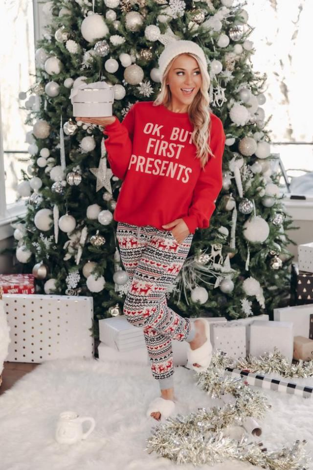 Christmas Elk Snowflake Raglan Sleeve Pajama Pants Set   Celebrate Christmas in Zaful clothes.