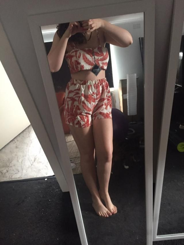 Really cute design, top is too skimpy and had to wear it backwards, but still love it and great for summer