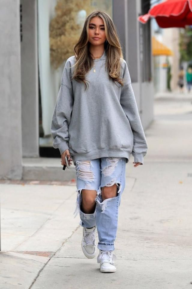 Get this Madison Beer style for this christmas!!! a warm sweatshirt, ripped jeans and some gold jewerly!!!