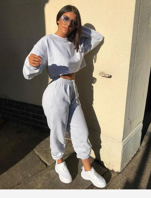 Crop Sweatshirt And Joggers Tracksuit  Wonderful jogger two piece set , clothes for autumn and winter in Zaful.