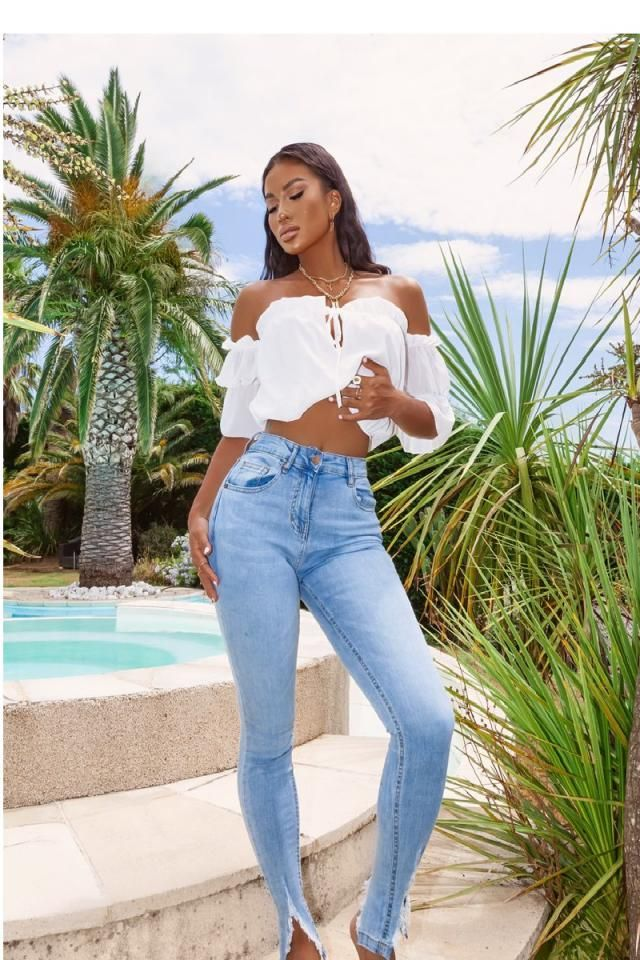 Off Shoulder Ruched Bowknot Crop T-shirt  Perfect crop T-shirt with jeans .