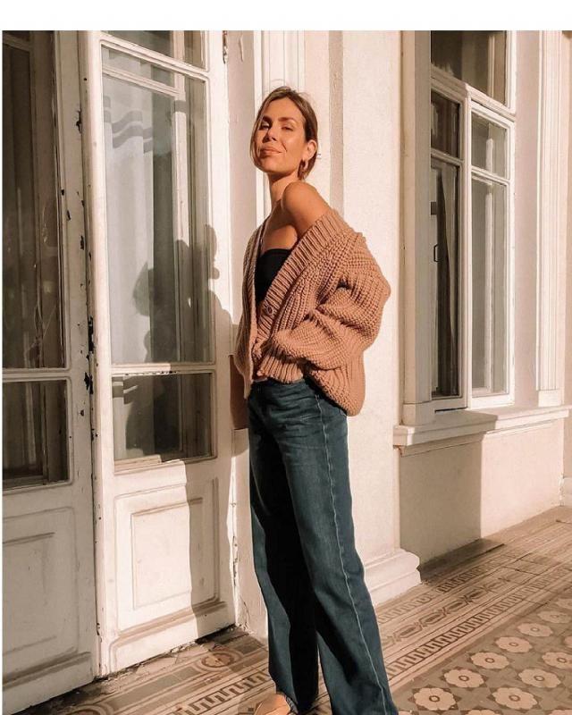 Drop Shoulder Pointelle Knit Plunging Cardigan