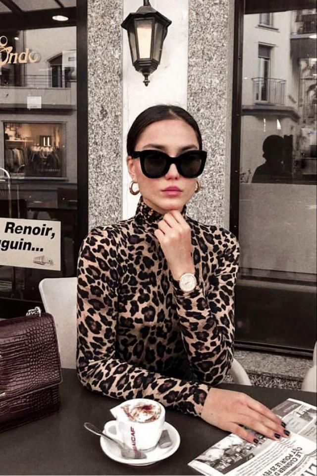 Mock Neck Leopard Snap Crotch Long Sleeve Bodysuit