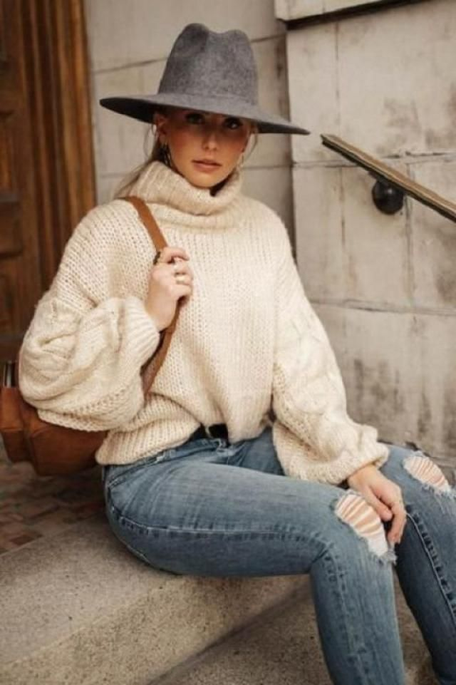 ZAFUL Drop Shoulder Turtleneck Chunky Sweater 