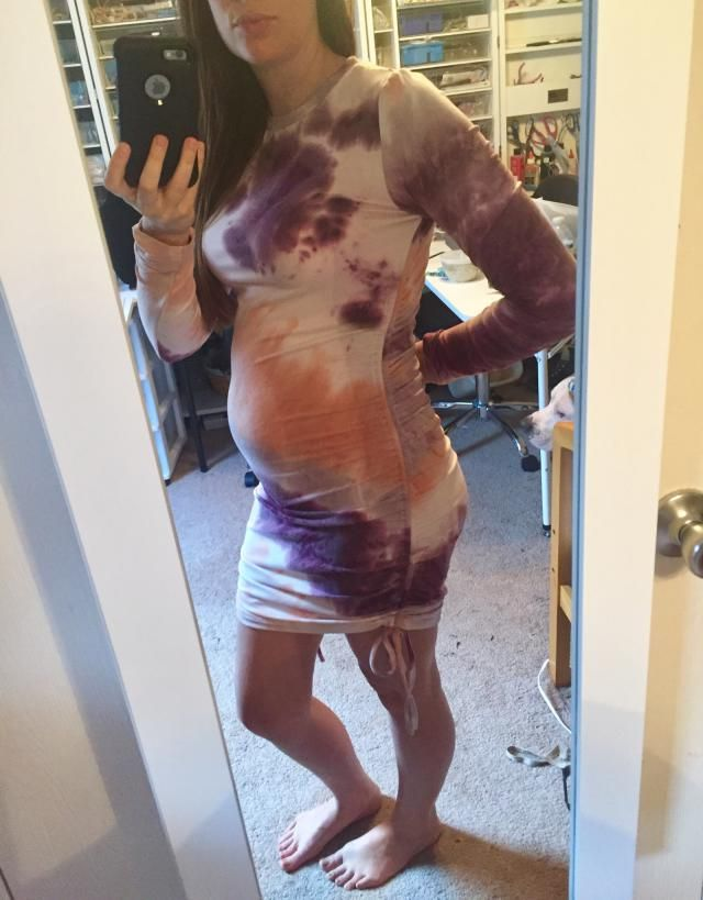 I bought this because I am pregnant. I purchased a large so there is still room to grow. Very stretchy and comfortable…