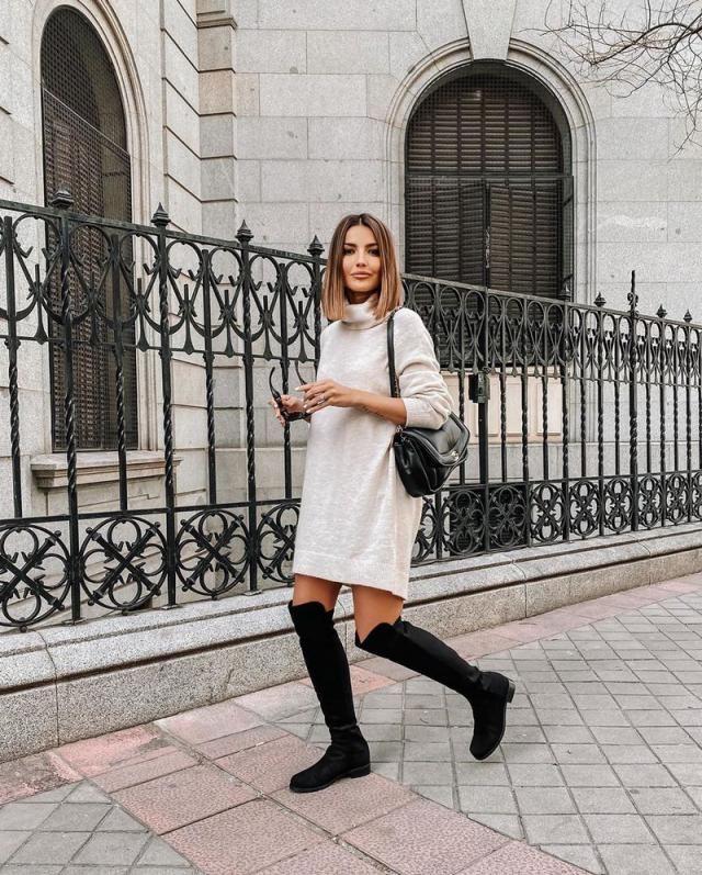 Turtleneck Raglan Sleeve Mini Sweater Dress