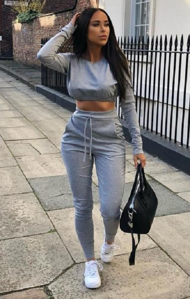 Crop Sweatshirt And Joggers Tracksuit