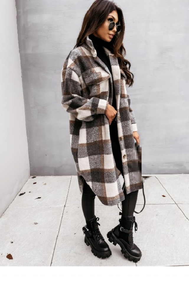 ZAFUL Flap Pockets Plaid Wool Blend Coat 