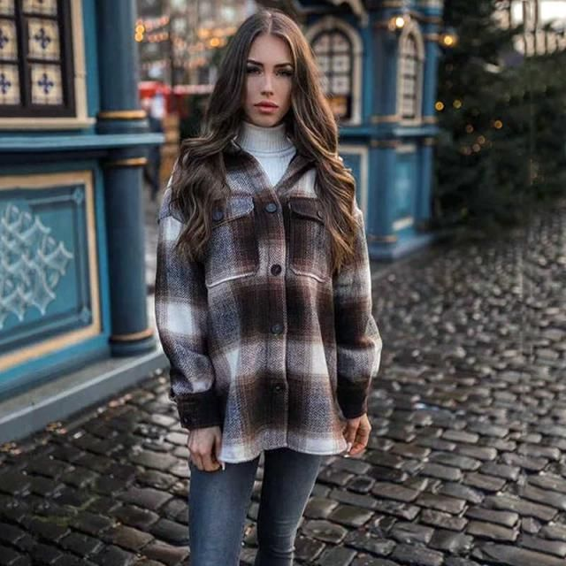 ZAFUL Plus Size Front Flap Pocket Flannel Plaid Shacket 