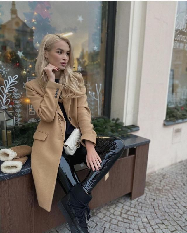Snap Button Belted Wool Blend Coat