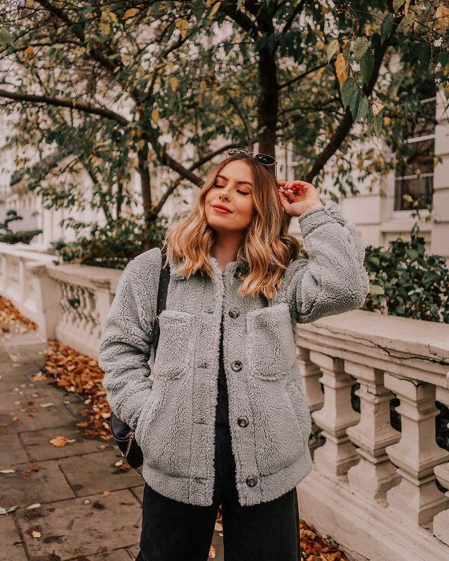 ZAFUL Button Up Flap Pockets Teddy Coat