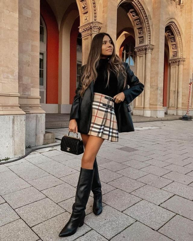 ZAFUL Pleated Plaid Mini Skirt 