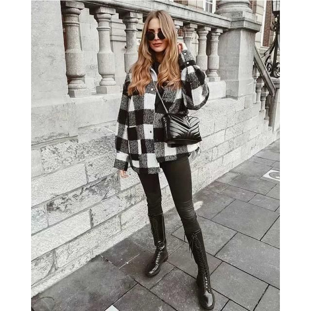 ZAFUL Detachable Hood Plaid Pocket Coat