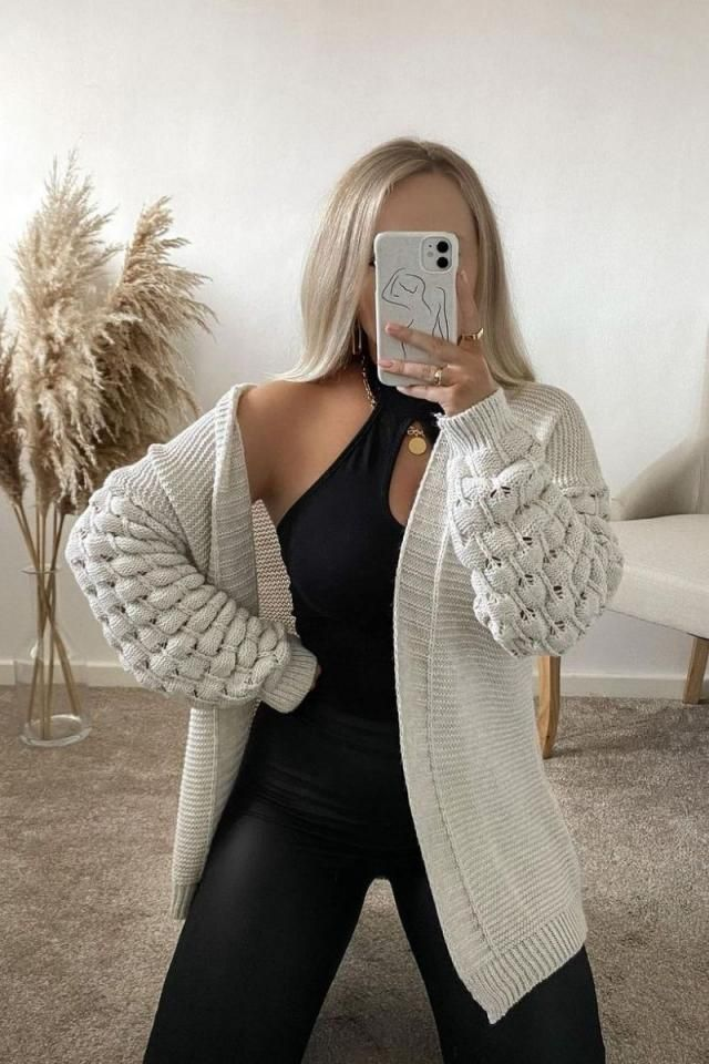 Drop Shoulder Openwork V Neck Cardigan