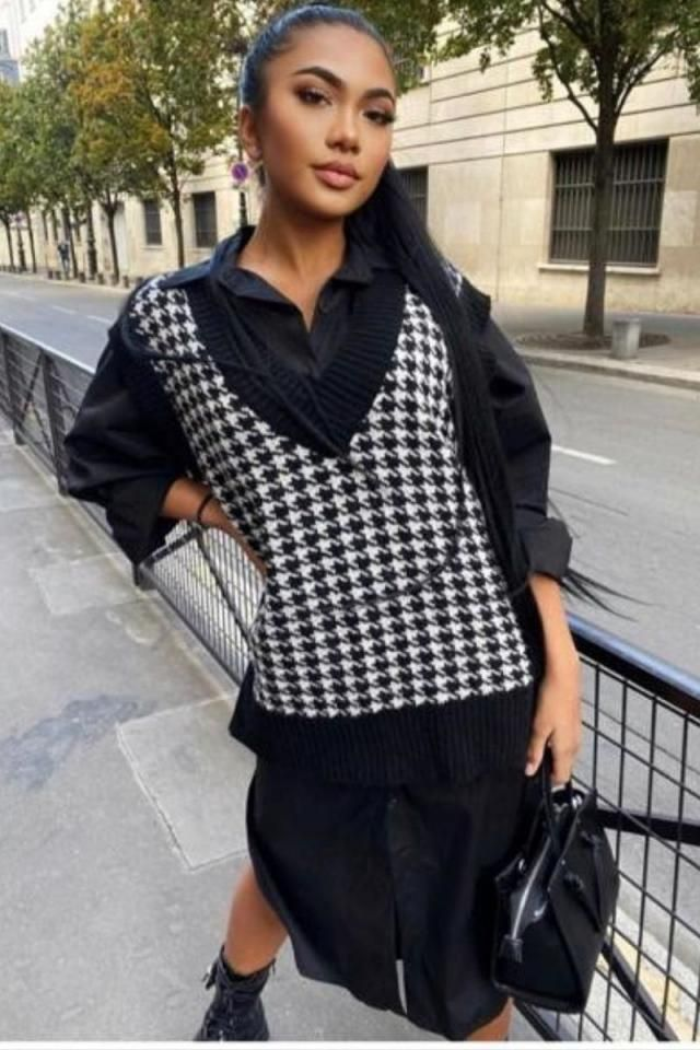 Houndstooth Stepped Hem Sweater Vest 