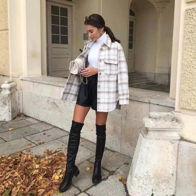 ZAFUL Flap Pockets Plaid Tweed Shacket 