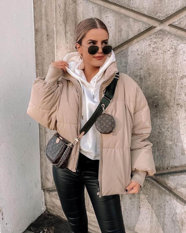 ZAFUL Padded Snap Button Zip Pocket Puffer Coat