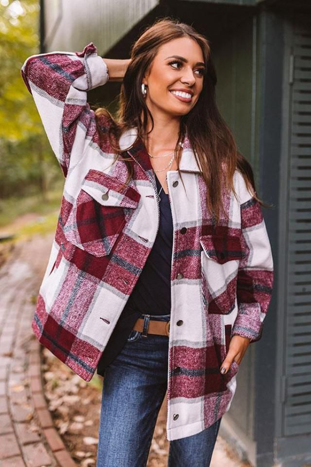 Plaid Drop Shoulder Pocket Coat   Beautiful plaid shirt with tee and jeans.