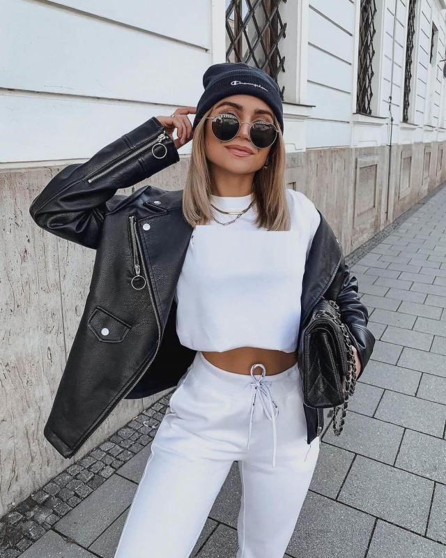 Zip Up Pockets Faux Leather Biker Jacket