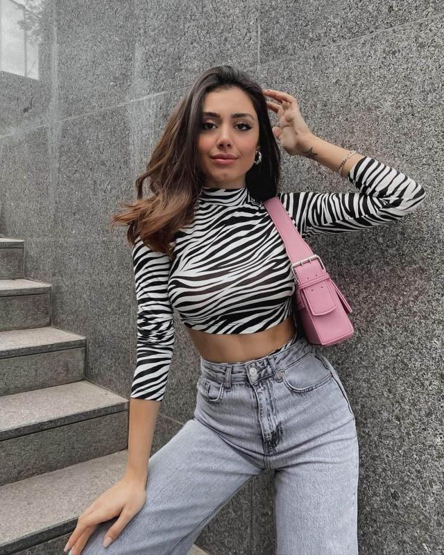 Zebra Print Lace-up Long Sleeve Tee