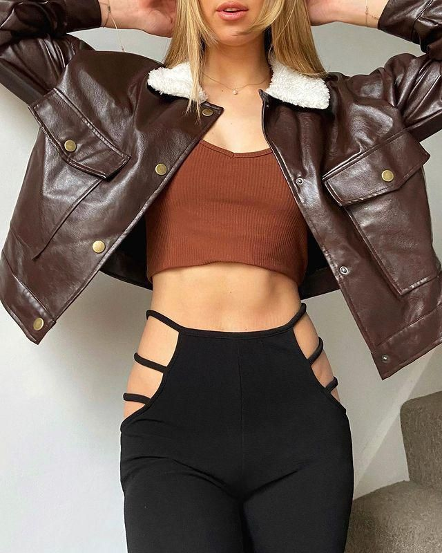 For a cool instagramer outfir you can get this Ladder Cutout Waist Textured Bootcut Pants!