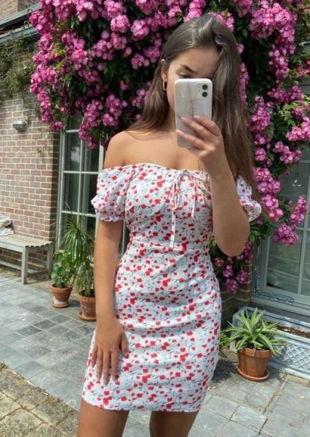Tie Collar Ditsy Floral Mini Dress