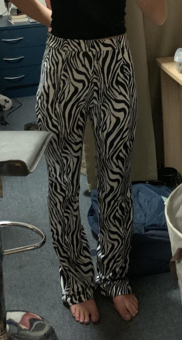 Large than I expected around the waist and the zebra stripes were intenser than I had imagined but if you can pull thi…