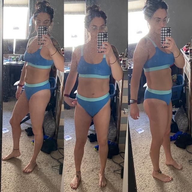 LOVE the swimsuit and color, but I really wish I would have sized up. The bottoms are a bit on the snug side so I don'…