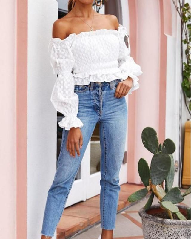 Off Shoulder Embroidery Ruffle Poet Sleeve Blouse