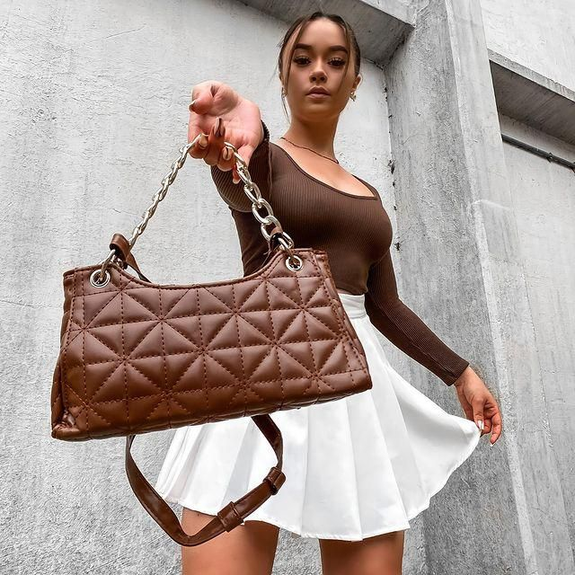 can you handle this? 🤎 get this cute brown bag here!♥