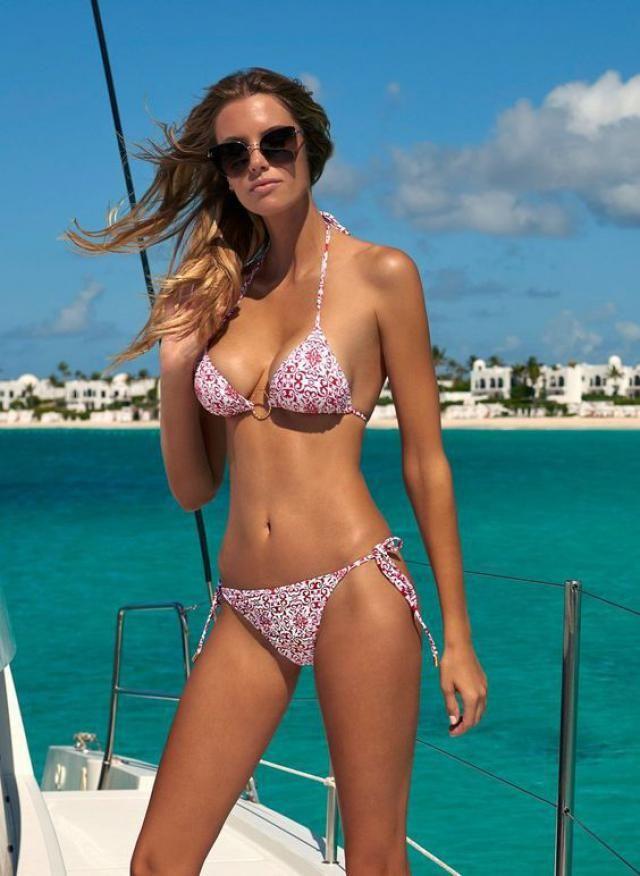ZAFUL Halter Geo Print Tie String Bikini Swimwear