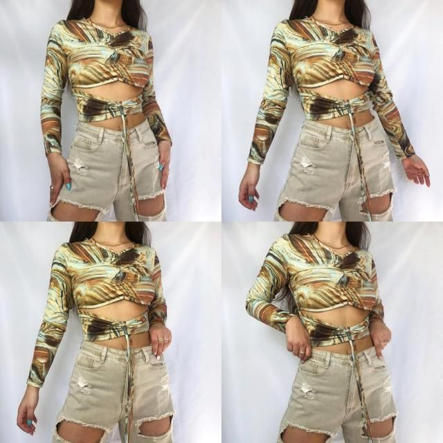 Get this cute Agate Print Cutout Cinched Tie Baby Tee here in zaful!♥